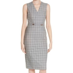 NWT Ted Baker Gray Check Ristad Dress 14